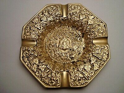 Greece vintage solid brass ashtray with Byzantine Double-Headed Eagle #3