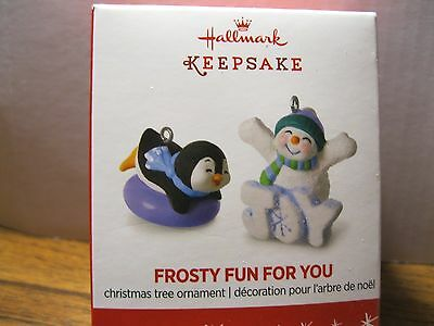 2016 HALLMARK FROSTY FUN FOR YOU -  Miniature VIP SET OF 1 - Penguin and Snowman