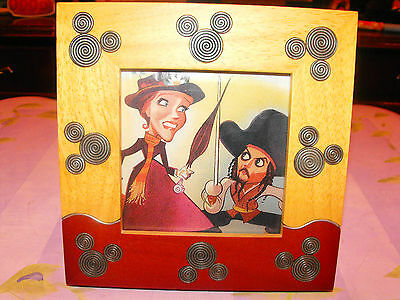 Vintage Mickey Mouse Wood & Metal FRAME Picture Rare Disney Disneyland Gift Fall