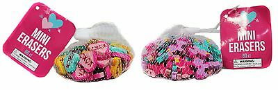 VALENTINES DAY* 60 Count MINI ERASERS Party Favors SCHOOL Kids *YOU CHOOSE* 2/9