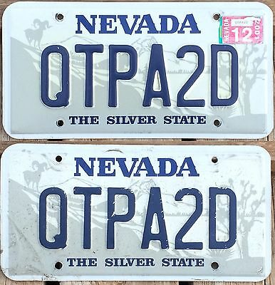 Nevada 2001 PERSONALIZED VANITY License Plate pair QTPA2D!