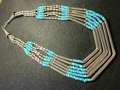 Southwestern Sterling Coin Turquoise Necklace   6 Strands  114.4 grams