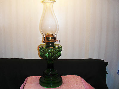 Wow~~~Emerald Green Oil Lamp & Chimney~~~Bullseye