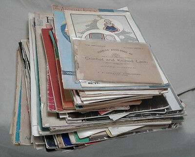 50+ Magazine Lot 1888-1950s Knitting Fashion Crafting Sewing Patterns Old VTG