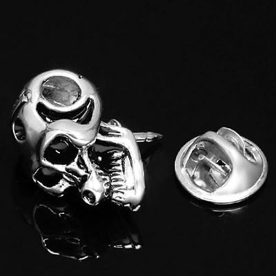 Humour Gothic Pirate Skull Silver Lapel Pin Badge Hat Pin Tie Tack Pin Brooch