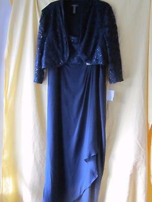 Nwt Women's Mother Of The Bride Jacket Dress Long Formal Lace Gown 20W Navy