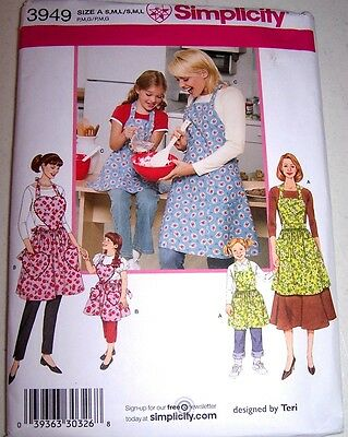 APRON PATTERN SIMPLICITY #3949 Size S-M-L 2006 3-MOTHER - DAUGHTER Styles