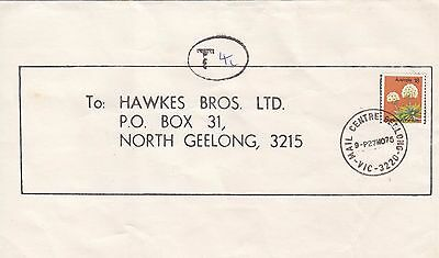 Stamp Australia 18c wattle on home made wrapper 1975 Wattlegrove Geelong taxed