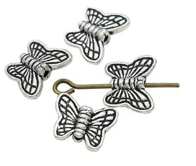 100pcs Retro Antique Metal Alloy Butterfly Spacer Beads 10mm for Jewelry Making
