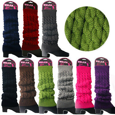 Ladies Winter Warm Knit High Knee Leg Warmers Crochet Leggings Slouch Boot Socks