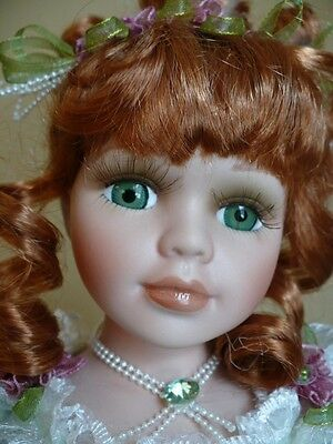 "16 In.porcelain Ballerina  Doll""aynsley""  Red Hair Green Tutu New"