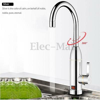Chrome LED Display Instant Electric Faucet Fast Heating Tankless Cold Hot Tap