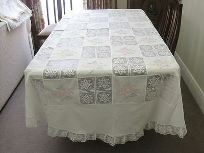 Gorgeous White Cotton Oval Tablecloth With Pink Floral Embroidery & Lace Inserts