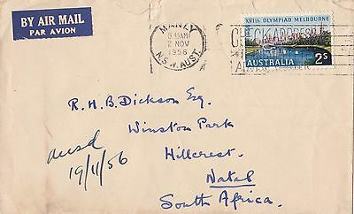Stamp 1956 Australia 2/- Olympic Games on cover sent airmail to South Africa