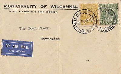 Stamps 4d & 1d KGV on Municipality of Wilcannia cover sent airmail to Narromine