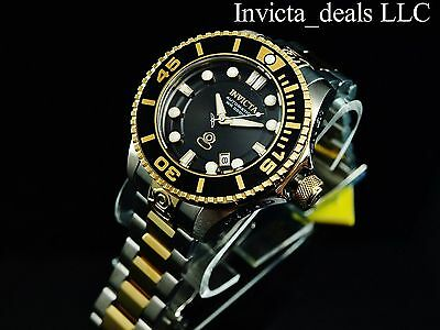 Invicta Men's 300M Grand Diver II Auto 3D Case Onyx Dial 2Tone Gold Plated Watch