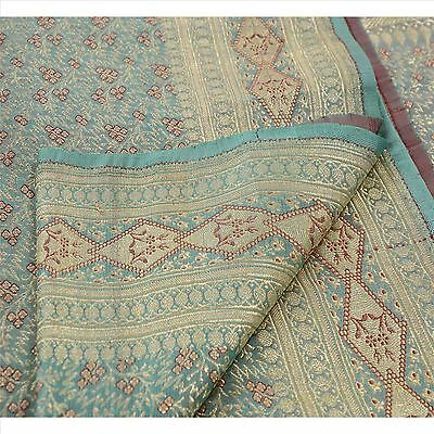 Sanskriti Vintage Sari Woven Satin Silk Fabric Saree Brocade Blue Floral