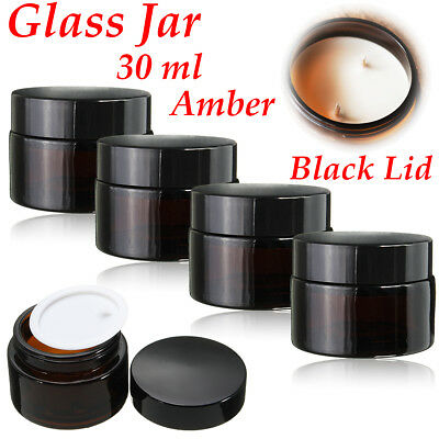 4/12 30ml Amber Glass Jar Bottles Containers Cream For Cosmetics Candles Spices