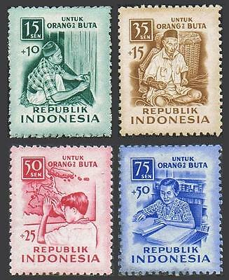 Indonesia B88-B91,MNH.Michel 158-161. Benefit of the blind,1956.Weaver,Braille.