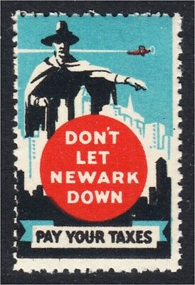 Newark New Jersey Pay Your Taxes Anti Tax Evasion 1930s U.S. Poster Stamp