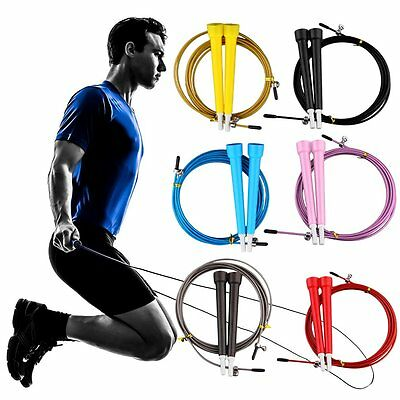 Fitness Adjustable Speed Skipping Jumping Rope Boxing Gym CrossFit Steel Cable #