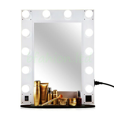 Hollywood Lighted Makeup Vanity Mirror Dressing Room Dimmable + Free LED Bulbs