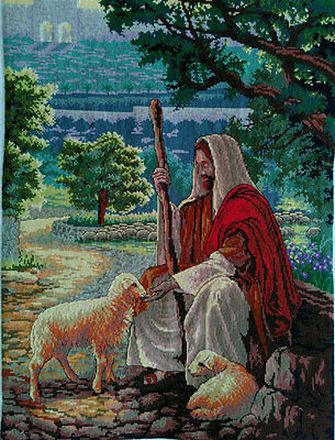 New Finished Completed Cross Stitch - Sheepherder - P8a