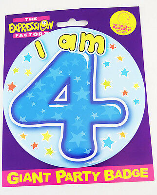 Happy 4 Today Birthday Age 4th Boy Jumbo Badge Kids Pin On Accessory Party Gift
