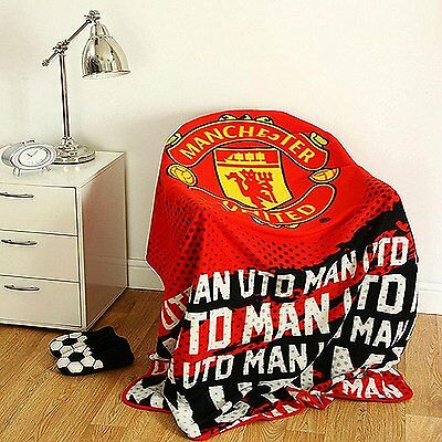EXTRA LARGE Manchester United Football Club Soft Fleece Blanket Throw Man Utd