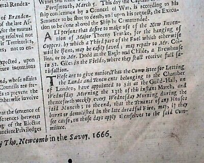 Very Early & Rare 17th Century 1666 London UK Newspaper w/ GREAT FIRE Mention