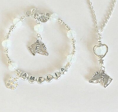 Personalised Jewellery:silver Crystal Ice Skating Charm Bracelet + Necklace Gift