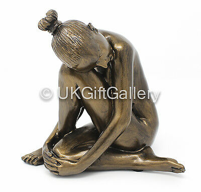 Cold Cast Resin Sculpture of Nude Lady in Sitting Pose, Painted Bronze Finish BN
