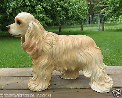 "COCKER SPANIEL DOG STATUE FIGURINE 9'' L X 15 "" HCANINE HOME DECOR pet resin new"