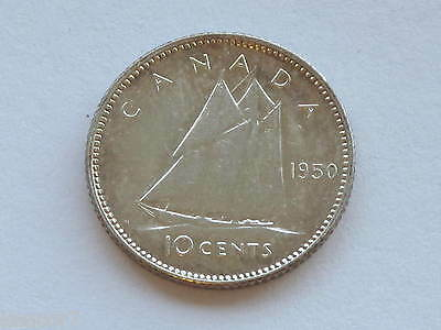 1950 Canada Silver Ten Cents George VI Canadian Coin D3742