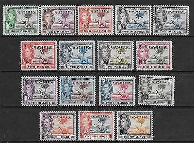 Gambia  Sg 150/61  1938/46 Gvi Set Of 16  Fine Mounted Mint  4/- & 5/- Unmounted