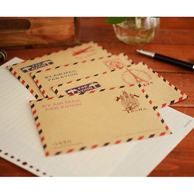 40pcs Random Mixed Styles Airmail Kraft Envelopes Travel Gift Wedding Favor