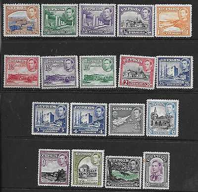 CYPRUS  SG 151/62  1938/51 GVI SET TO 90pi   FINE MOUNTED (HINGED) MINT