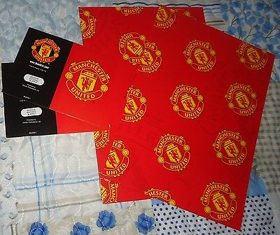 Official Manchester United Fc Birthday Gift Wrapping Paper (2 Sheets & 2 Tags)