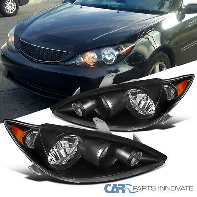 For 05-06 Toyota Camry Base LE SE XLE Black Clear Headlights+Amber Signal Lamps