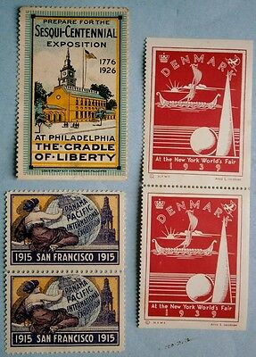 45. 1915 San Francisco, 1926 Sesqui-Centennial and 1939 WF Denmark Poster Stamps