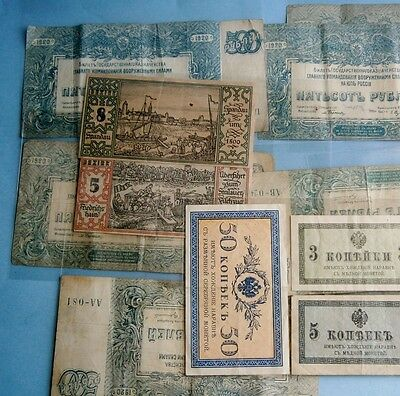 (12) Pieces of 1920's Russian & German Bank Notes