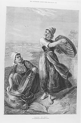 OLD ANTIQUE PRINT WINNOWING CORN SIEVING WOMEN FARMING c1875 AGRICULTURE