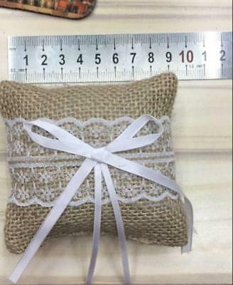 Rustic Burlap Lace Floral Ring Pillow Bearer Cushion Wedding Ceremony