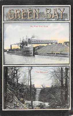 Green Bay Wisconsin St Paul Coal Dock and Waterfall Antique Postcard J60468