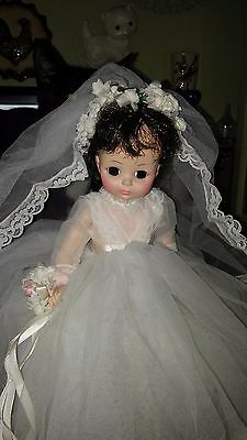 1960's Madame Alexander Bride Doll, 13 inch, with stand