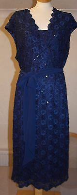 Lovely Jacques Vert Navy Lace & Sequin Dress - Size 18