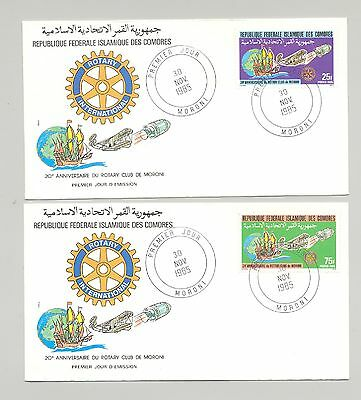 Comoros 1985 Space, Maps. Rotary, Aviation 4v on 4 FDC
