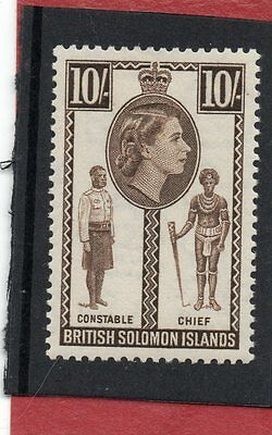 BR.SOLOMON IS. QE2 1956-63  10sh sepia sg 95 H.MINT
