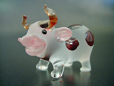 Glass COW, OX, Stained, Painted, Frosted Glass Ornament, Collectors Item, Gift