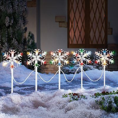 Set of 5 Colorful Christmas Snowflake Outdoor Garden Yard Path Lights